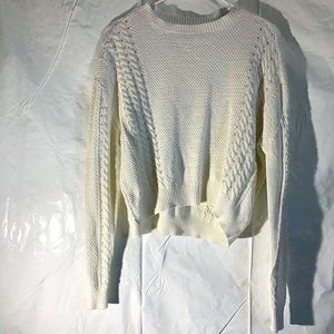 Volcom Cream/White Cable Knit Long Sleeve Sweater